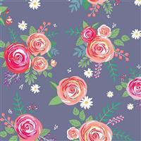 Riley Blake Poppy & Posey Amethyst Rose Fabric 0.5m