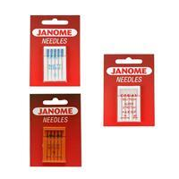 Janome Sewing Machines Needles Bundle: Red Tip, Blue Tip & Ballpoint. Save £2