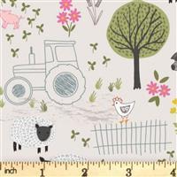 Lewis & Irene Piggy Tales Farmyard Scenes On Natural Fabric 0.5m