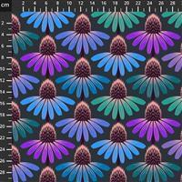 Anna Maria Horner Love Always Purple and Green Flower Head Fabric 0.5m