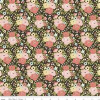 Riley Blake Joy In The Journey Charcoal Floral Fabric 0.5m