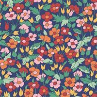Liberty Carnaby Collection Piccalilly Poppy Blue and Red Fabric 0.5m