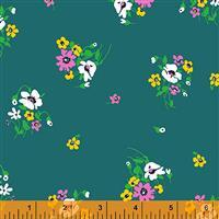 Posy On Teal Fabric  0.5m