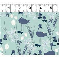 Blue Goose Duck Egg Blue Geese Fabric 0.5m