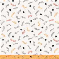 Mod Cat Play Words Ivory Fabric 0.5m
