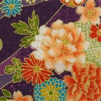 Sevenberry Gold Metallic Traditional Japanese Floral Purple Fabric 0.5m