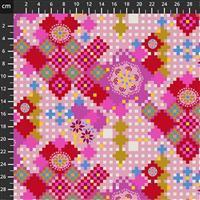 Anna Maria Horner Love Always Pink Flower Pixel Fabric 0.5m