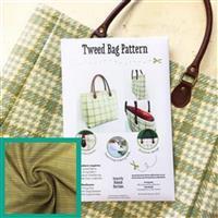 Green Tweed Bag Kit: Instuctions, Fabric (1m) & Handles