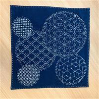 "Sashiko Mixed Pattern Fabric Panel 30x30cm (12 x 12"")"