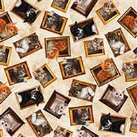 Literary Kitties Framed Kitten Fabric on Cream 0.5m