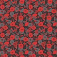 Lewis & Irene Poppies Red and Black Poppies Fabric 0.5m