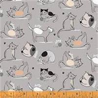 Mod Cat Cats Playing Grey Fabric 0.5m