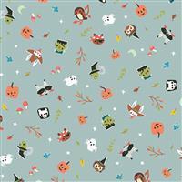 Riley Blake Tiny Treaters Grey Halloween Monsters Fabric 0.5m