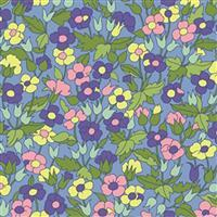 Liberty Carnaby Collection Piccailly Poppy Green and Purple Fabric 0.5m