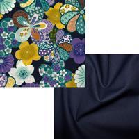 Navy & Gold Floral Japanee Fabric Bundle (1m)