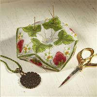 The Cross Stitch Guild Strawberry Beaded Biscornu on Linen - New to Sewing Street
