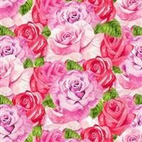 Henry Glass Heart & Soul in Pink Roses Fabric 0.5m