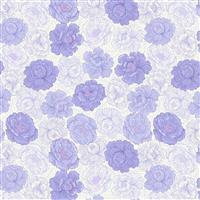 Lewis & Irene Love Blooms Flower Heads On Purple Fabric 0.5m