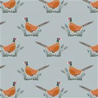 Lewis & Irene Country Life Reloved Grey Tossed Pheasants Fabric 0.5m