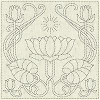 "Sashiko Serenity Fabric Panel 30 cm x 30 cm (12"" x 12"")"