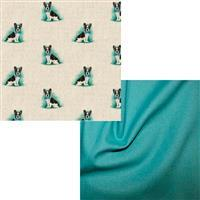 French Bull Dog All-Over Linen Look & Jade Fabric Bundle (1m) Save £2
