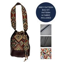 Grey Tapestry Rondelle Bag Kit: Pattern & Fabric (2.5m)