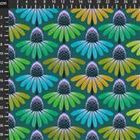 Anna Maria Horner Love Always Green and Blue Flower Head Fabric 0.5m