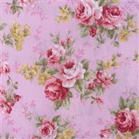 Floral Story Rose Bunches On Pink Fabric 0.5m - Sewing Street exclusive