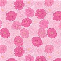 Lewis & Irene Love Blooms Flower Heads On Pink Fabric 0.5m