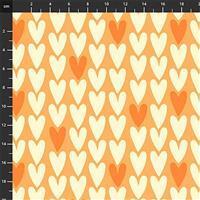 Squeeze Hearts on Orange Fabric 0.5m