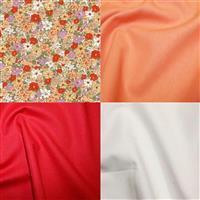 Under £15 Orange Florals Fabric Bundle (2m)