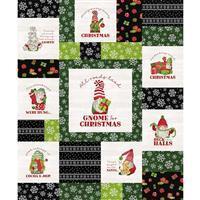 Riley Blake Gnome for Christmas Black Flannel Panel 0.9m