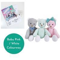 "Becky Alexander Frost Maisie & Milo Bear Kit makes 12"" Bear Baby Pink / White"