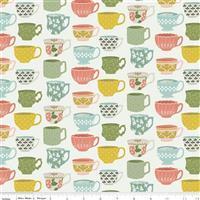 Riley Blake Tea With Bea Off White Tea Cup Fabric 0.5m