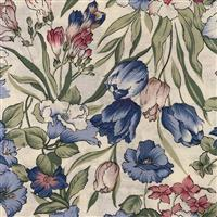 Country Floral Blue Flowers on Cream Fabric 0.5m Exclusive