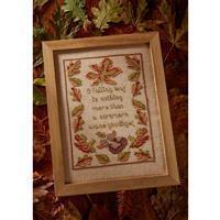 The Cross Stitch Guild Autumn Leaf Tile on Linen