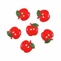 Novelty Apple Buttons Pack of 6