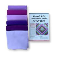Purples Around the World Quilt Kit (87in x 87in): Instructions & Fabric (9m)