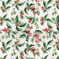 Tim Holtz Christmastime in Jolly Holly White Fabric 0.5m