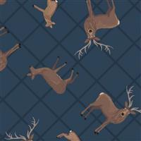 Lewis & Irene Loch Lewis Highland Stags On Teal Fabric 0.5m