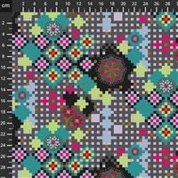 Anna Maria Horner Love Always Grey Flower Pixel Fabric 0.5m
