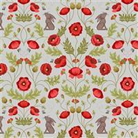Lewis & Irene Poppies Grey Poppy Sprout Fabric 0.5m
