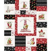 Riley Blake Gnome for Christmas Red Flannel Panel 0.9m