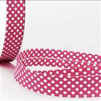 Bias Binding Cotton in Dot Fuschia 20mm x 2.5m
