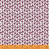 Posy Mini Flower On Burgundy Fabric 0.5m