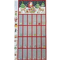 Christmas Grey Advent Calendar Fold and Stitch Panel 0.6m
