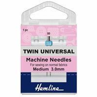 Sewing Machine Needles, Twin Universal 80/12, 3mm