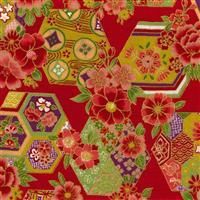 Sevenberry Gold Metallic Traditional Japanese Hexagon Red Fabric 0.5m