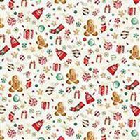 Hoffman Gingerbread Gold Christmas Motif Fabric Bundle (2.5m). Half a Metre Free. Save £6.99.