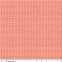 Riley Blake Tea With Bea Coral Honeycomb Fabric 0.5m